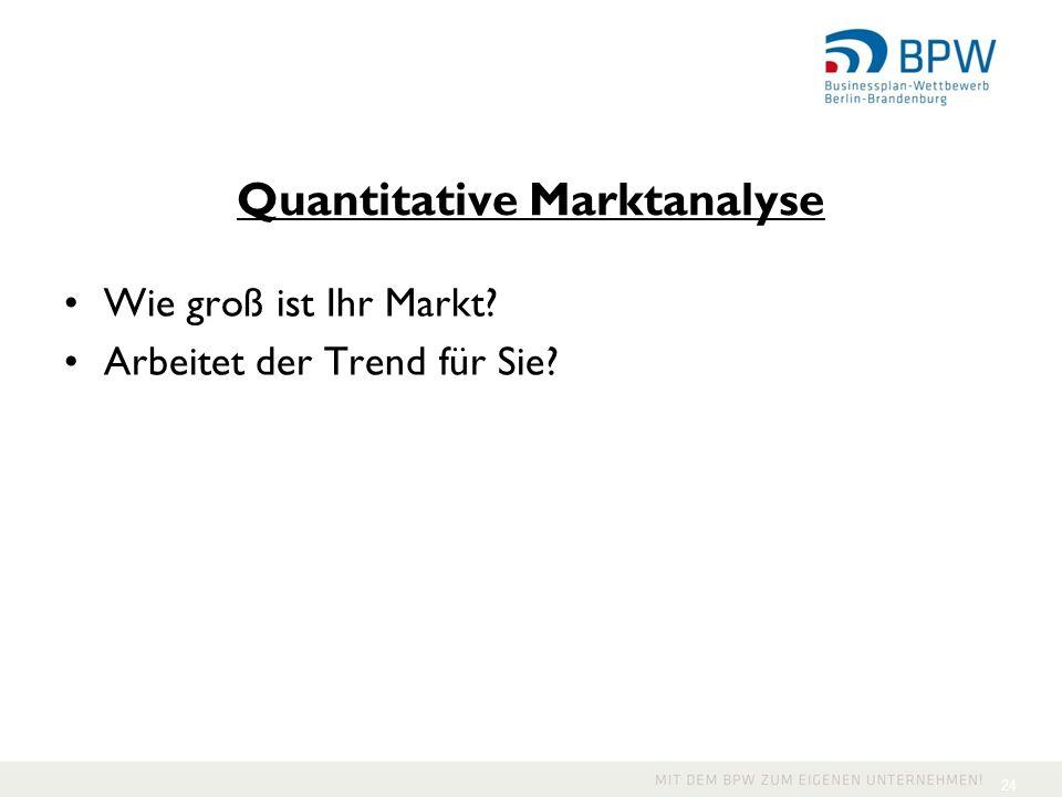 Quantitative Marktanalyse Wie groß ist Ihr Markt? Arbeitet der Trend für Sie? 24