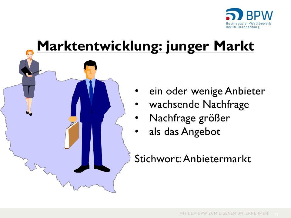 27 ein oder wenige Anbieter wachsende Nachfrage Nachfrage größer als das Angebot Stichwort: Anbietermarkt Marktentwicklung: junger Markt
