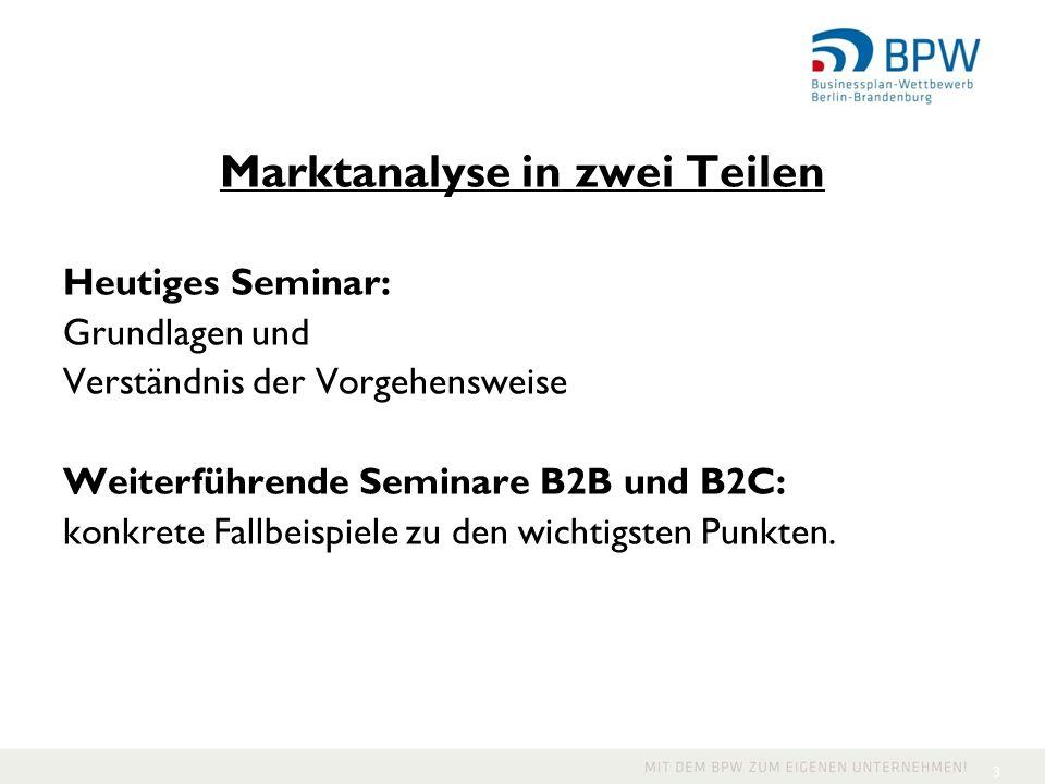Marktanalyse in zwei Teilen Heutiges Seminar: Grundlagen und Verständnis der Vorgehensweise Weiterführende Seminare B2B und B2C: konkrete Fallbeispiel