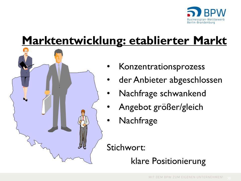 30 Konzentrationsprozess der Anbieter abgeschlossen Nachfrage schwankend Angebot größer/gleich Nachfrage Stichwort: klare Positionierung Marktentwickl