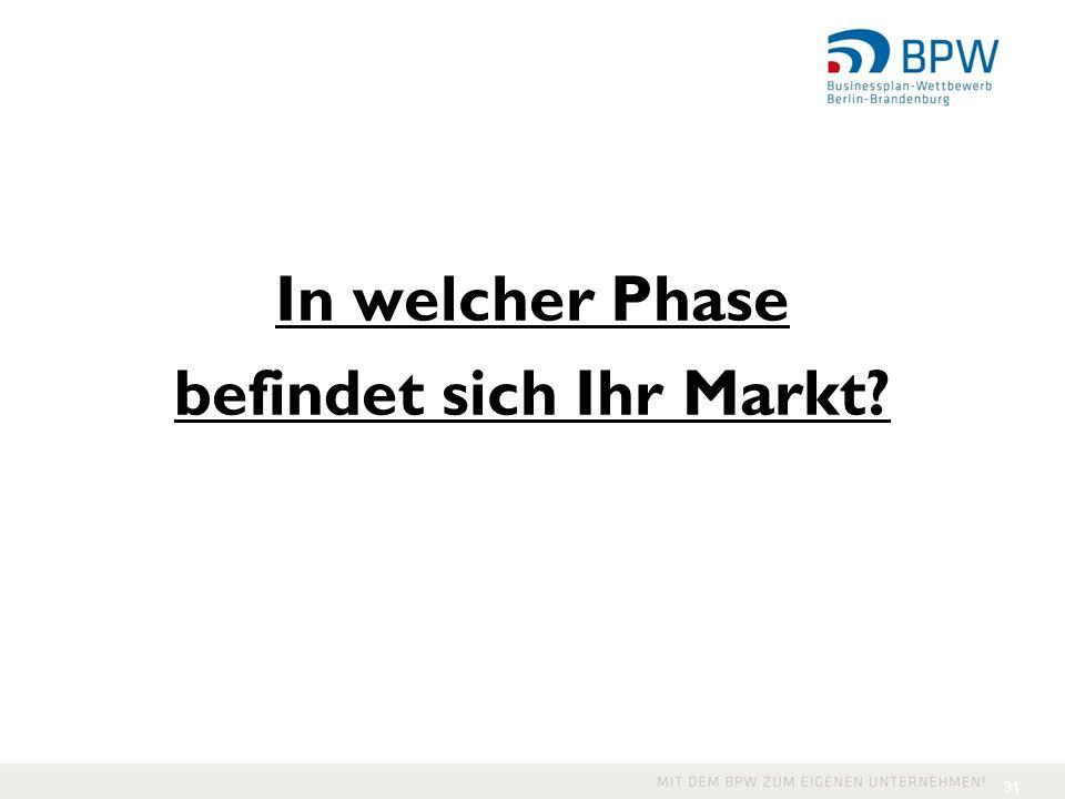 In welcher Phase befindet sich Ihr Markt? 31