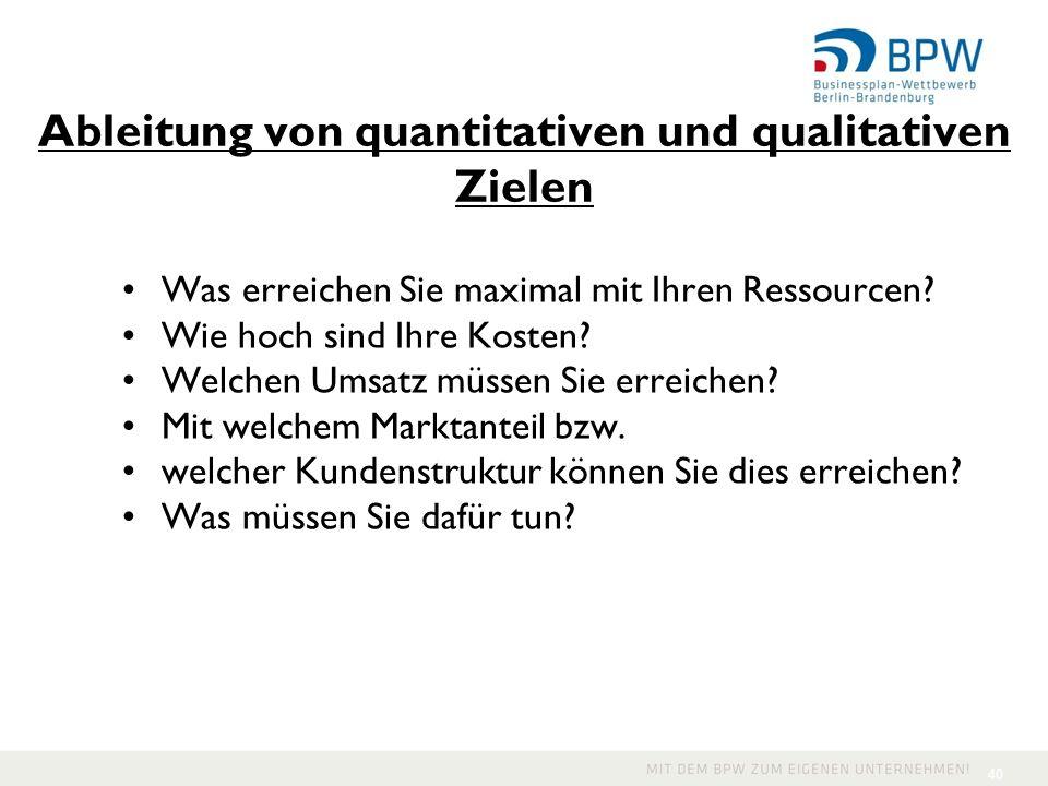 Ableitung von quantitativen und qualitativen Zielen Was erreichen Sie maximal mit Ihren Ressourcen? Wie hoch sind Ihre Kosten? Welchen Umsatz müssen S