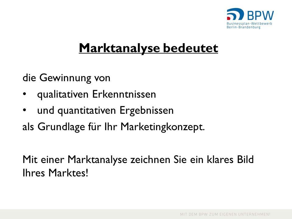 Marktanalyse bedeutet die Gewinnung von qualitativen Erkenntnissen und quantitativen Ergebnissen als Grundlage für Ihr Marketingkonzept. Mit einer Mar