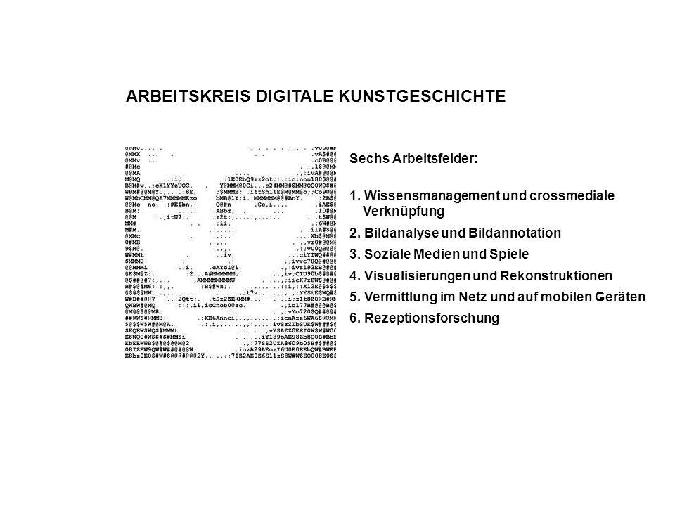 ARBEITSKREIS DIGITALE KUNSTGESCHICHTE Sechs Arbeitsfelder: 1. Wissensmanagement und crossmediale Verknüpfung 2. Bildanalyse und Bildannotation 3. Sozi