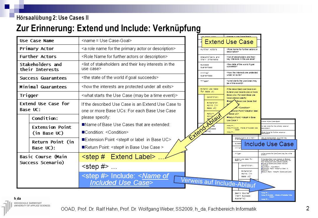 OOAD, Prof. Dr. Ralf Hahn, Prof. Dr. Wolfgang Weber, SS2009, h_da, Fachbereich Informatik 2 Zur Erinnerung: Extend und Include: Verknüpfung Use Case N