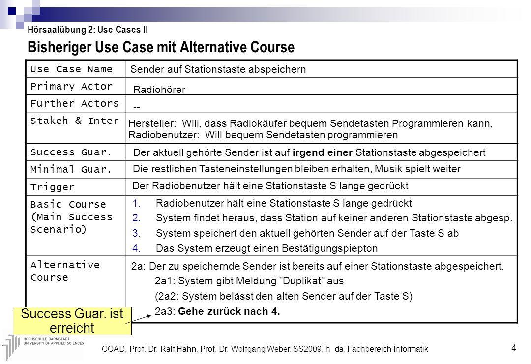 OOAD, Prof. Dr. Ralf Hahn, Prof. Dr. Wolfgang Weber, SS2009, h_da, Fachbereich Informatik 4 Bisheriger Use Case mit Alternative Course Hörsaalübung 2: