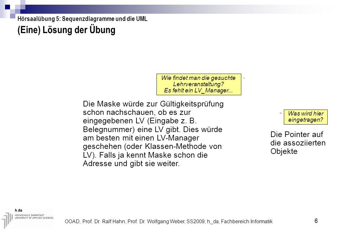 OOAD, Prof. Dr. Ralf Hahn, Prof. Dr. Wolfgang Weber, SS2009, h_da, Fachbereich Informatik 6 (Eine) Lösung der Übung Wie findet man die gesuchte Lehrve