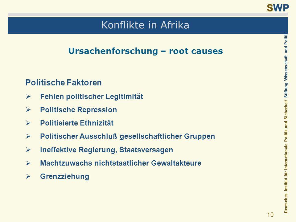 Deutsches Institut für Internationale Politik und Sicherheit Stiftung Wissenschaft und Politik SWP 10 Konflikte in Afrika Ursachenforschung – root cau