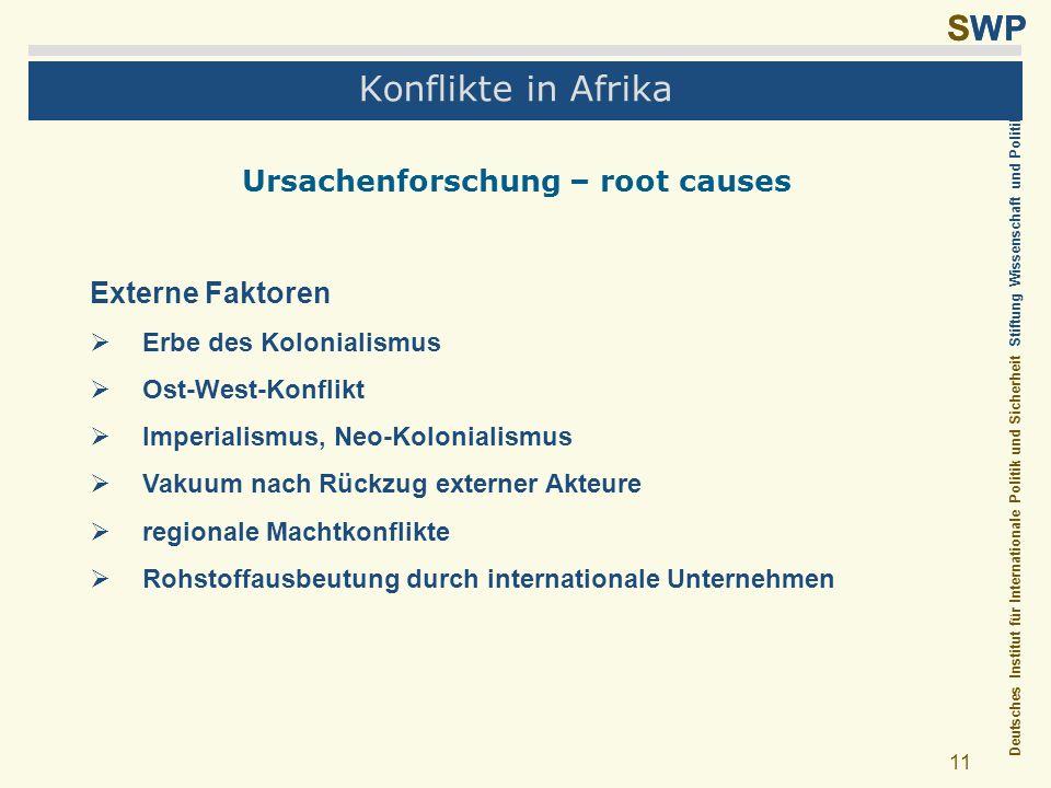 Deutsches Institut für Internationale Politik und Sicherheit Stiftung Wissenschaft und Politik SWP 11 Konflikte in Afrika Ursachenforschung – root cau