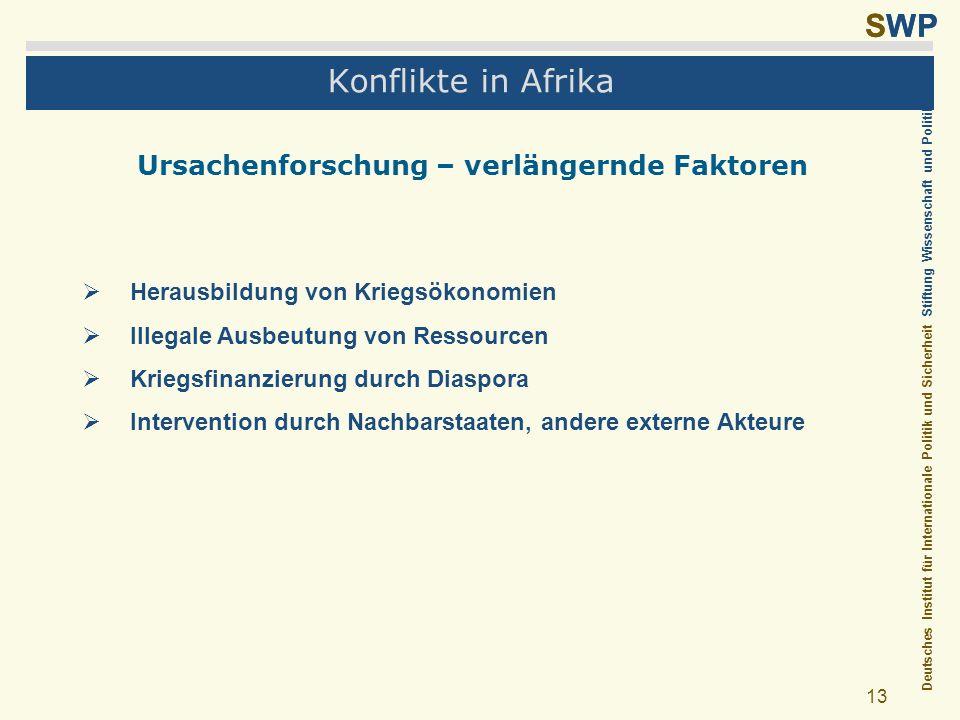 Deutsches Institut für Internationale Politik und Sicherheit Stiftung Wissenschaft und Politik SWP 13 Konflikte in Afrika Ursachenforschung – verlänge