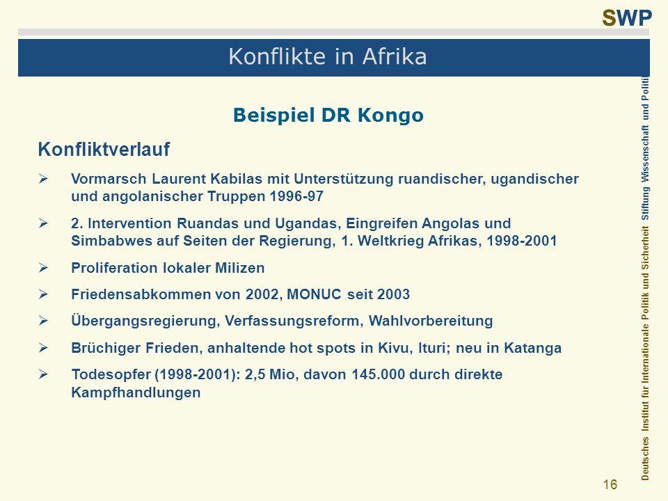 Deutsches Institut für Internationale Politik und Sicherheit Stiftung Wissenschaft und Politik SWP 16 Konflikte in Afrika Beispiel DR Kongo Konfliktve