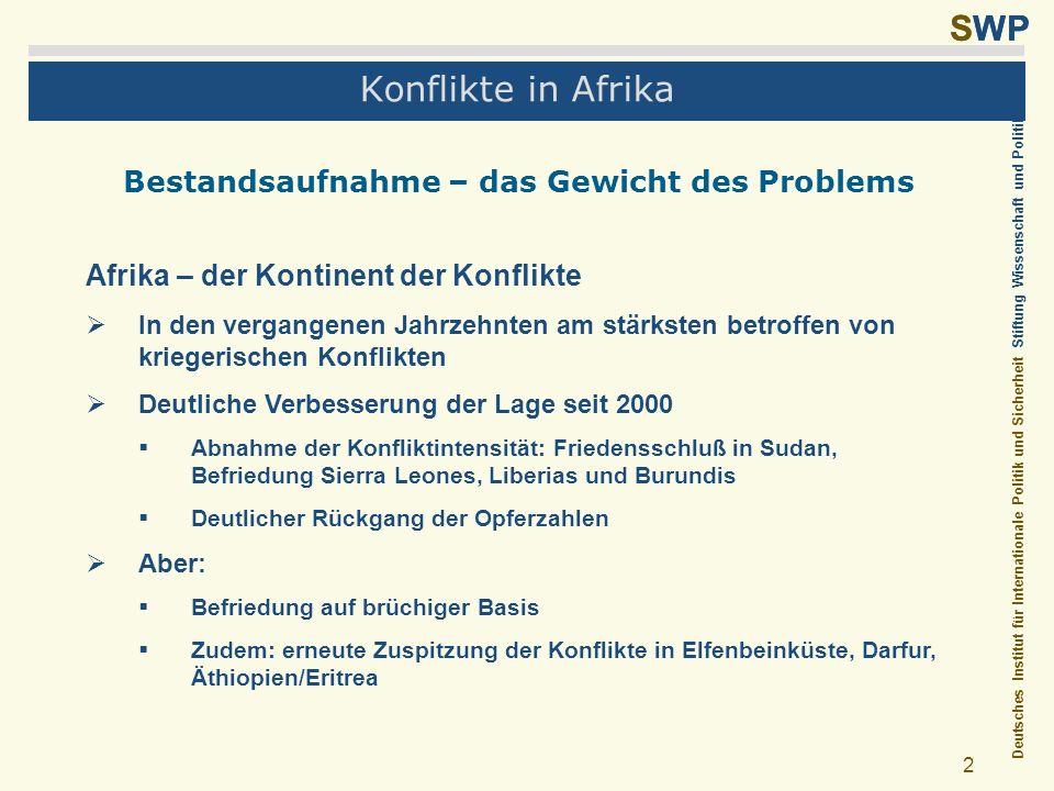 Deutsches Institut für Internationale Politik und Sicherheit Stiftung Wissenschaft und Politik SWP 2 Konflikte in Afrika Bestandsaufnahme – das Gewich