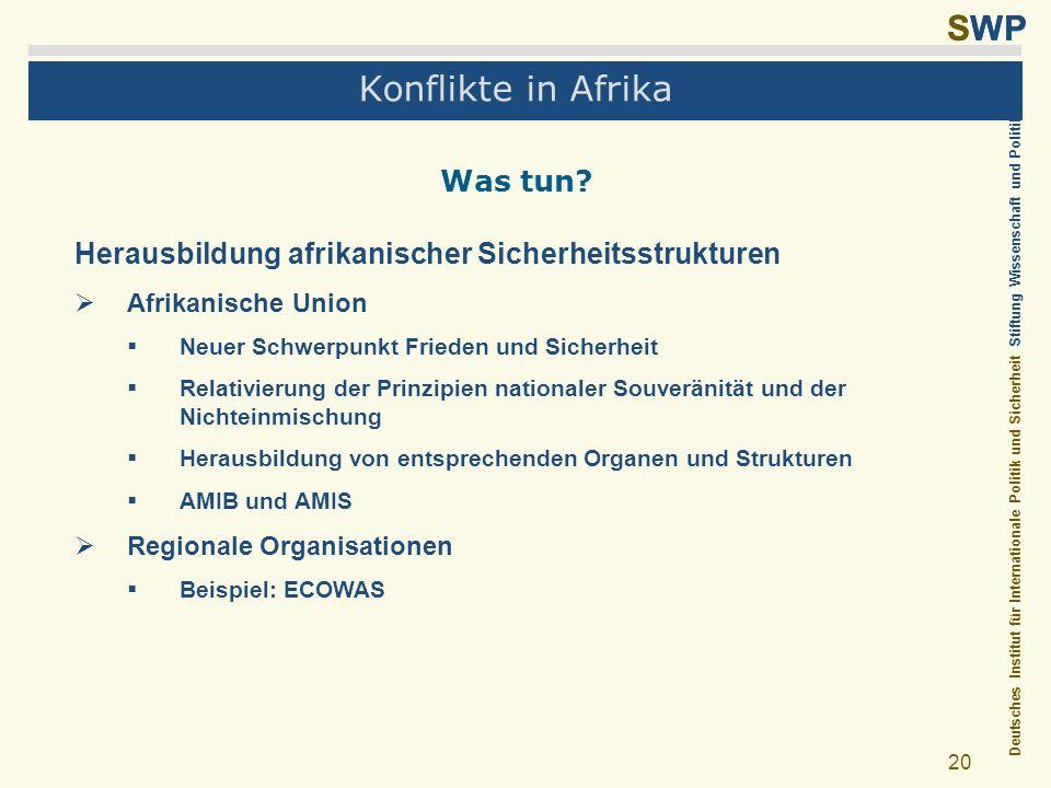 Deutsches Institut für Internationale Politik und Sicherheit Stiftung Wissenschaft und Politik SWP 20 Konflikte in Afrika Was tun? Herausbildung afrik