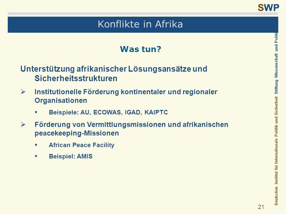 Deutsches Institut für Internationale Politik und Sicherheit Stiftung Wissenschaft und Politik SWP 21 Konflikte in Afrika Was tun? Unterstützung afrik