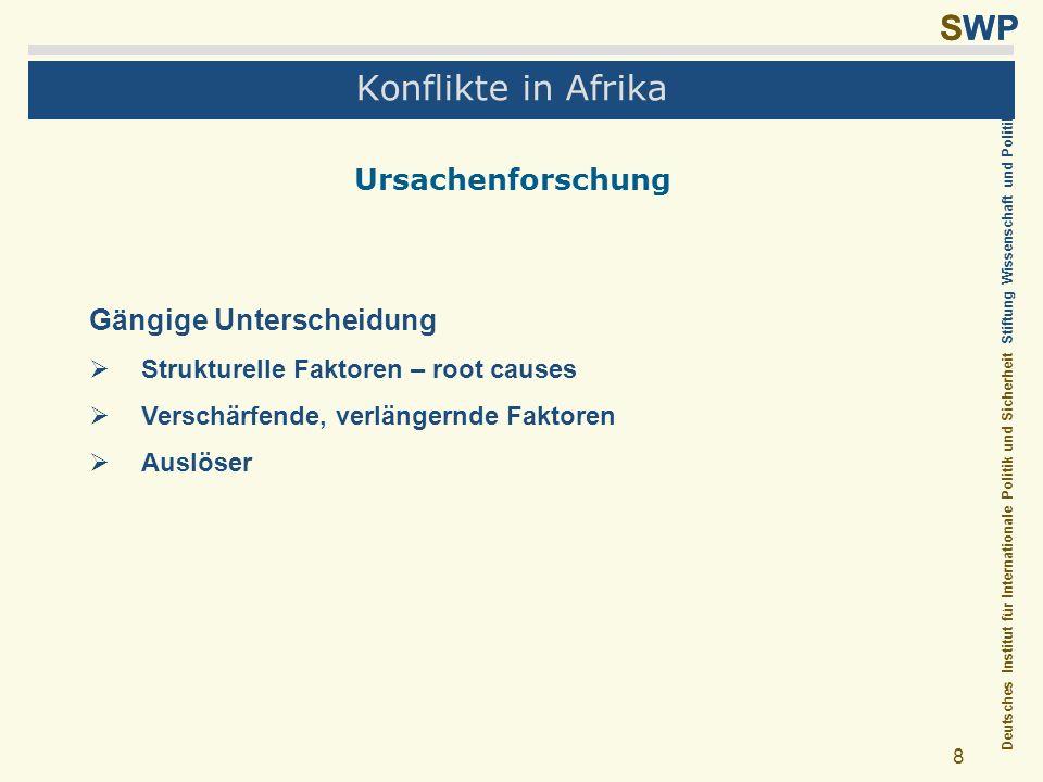 Deutsches Institut für Internationale Politik und Sicherheit Stiftung Wissenschaft und Politik SWP 8 Konflikte in Afrika Ursachenforschung Gängige Unt