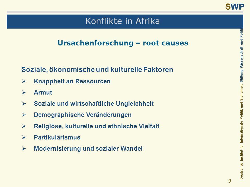 Deutsches Institut für Internationale Politik und Sicherheit Stiftung Wissenschaft und Politik SWP 9 Konflikte in Afrika Ursachenforschung – root caus