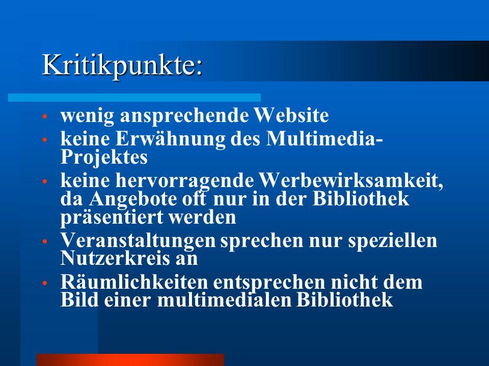 Kritikpunkte: wenig ansprechende Website keine Erwähnung des Multimedia- Projektes keine hervorragende Werbewirksamkeit, da Angebote oft nur in der Bi