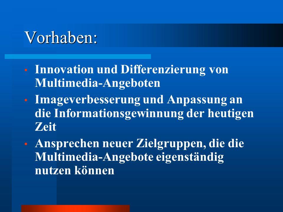 Vorhaben: Innovation und Differenzierung von Multimedia-Angeboten Imageverbesserung und Anpassung an die Informationsgewinnung der heutigen Zeit Anspr