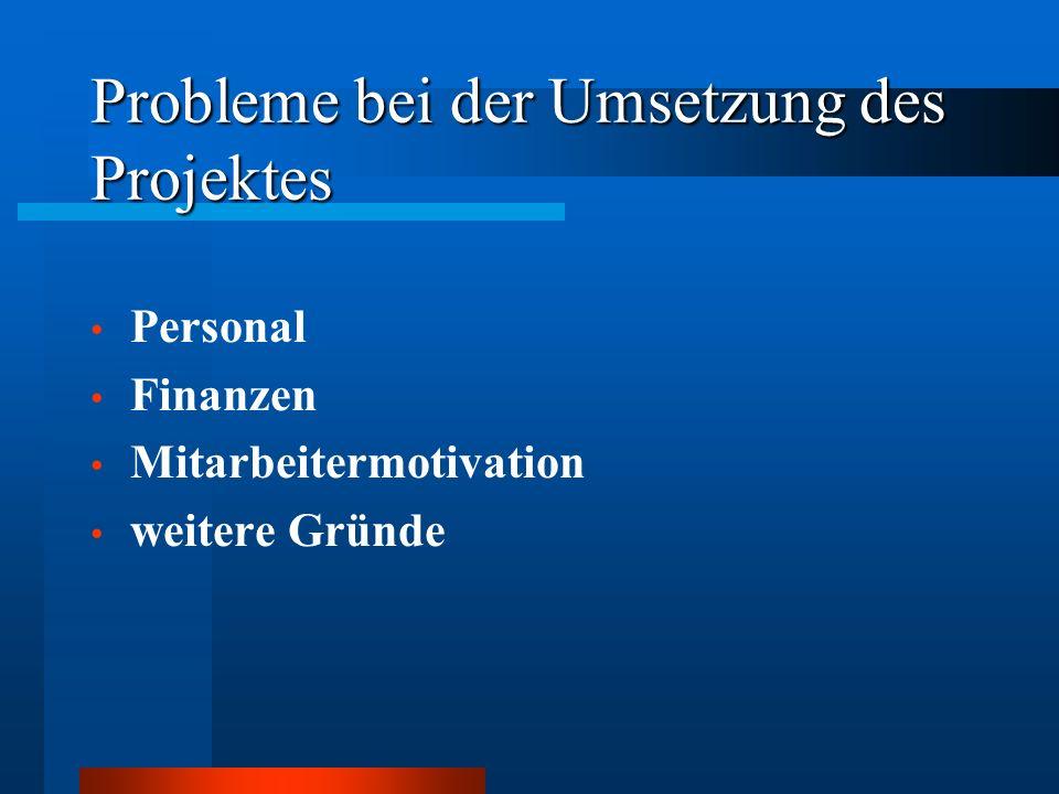 Probleme bei der Umsetzung des Projektes Personal Finanzen Mitarbeitermotivation weitere Gründe