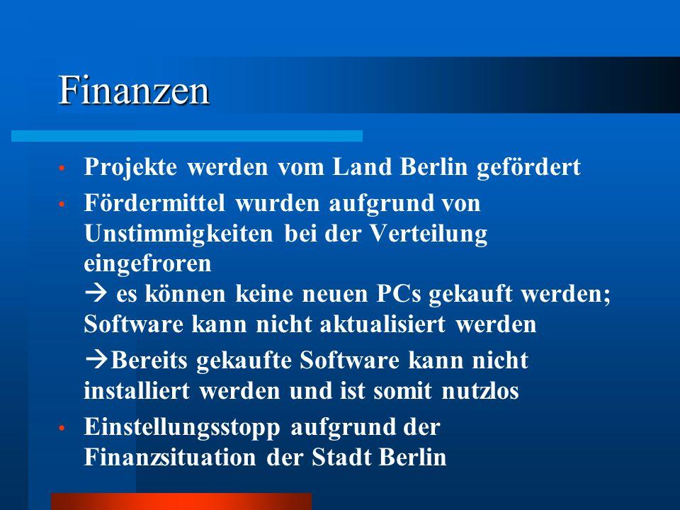 Finanzen Projekte werden vom Land Berlin gefördert Fördermittel wurden aufgrund von Unstimmigkeiten bei der Verteilung eingefroren es können keine neu