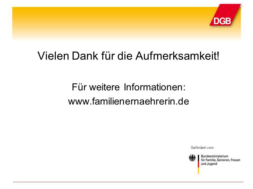 Vielen Dank für die Aufmerksamkeit! Für weitere Informationen: www.familienernaehrerin.de Gefördert vom: