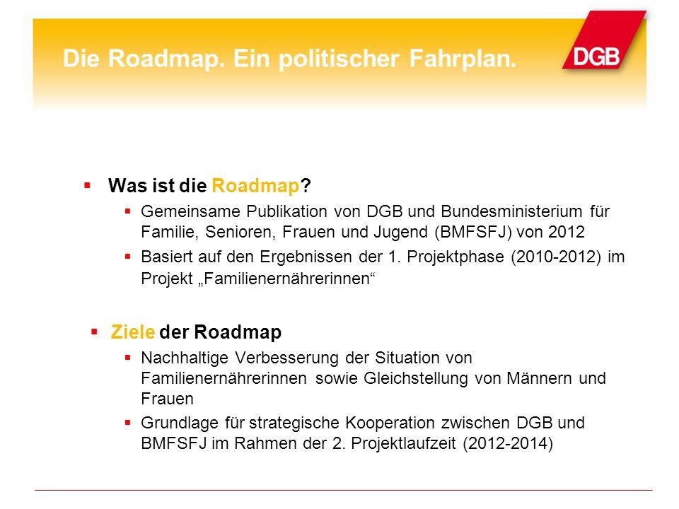 Was ist die Roadmap? Gemeinsame Publikation von DGB und Bundesministerium für Familie, Senioren, Frauen und Jugend (BMFSFJ) von 2012 Basiert auf den E