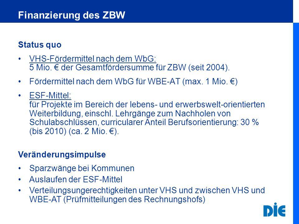 Finanzierung des ZBW Status quo VHS-Fördermittel nach dem WbG: 5 Mio. der Gesamtfördersumme für ZBW (seit 2004). Fördermittel nach dem WbG für WBE-AT
