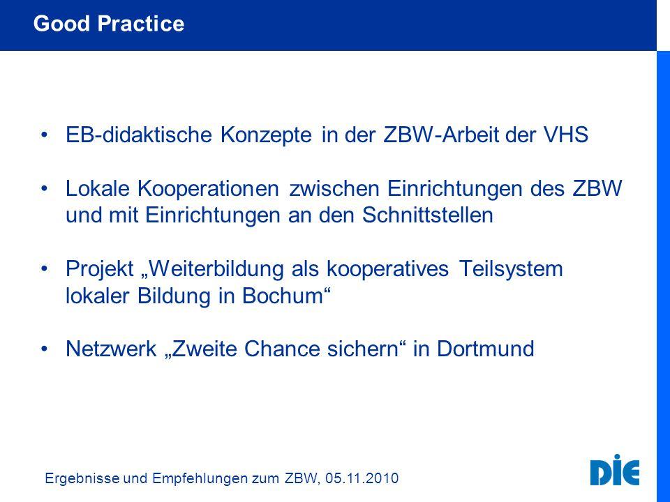 EB-didaktische Konzepte in der ZBW-Arbeit der VHS Lokale Kooperationen zwischen Einrichtungen des ZBW und mit Einrichtungen an den Schnittstellen Proj