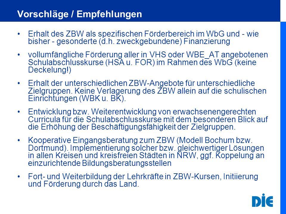Vorschläge / Empfehlungen Erhalt des ZBW als spezifischen Förderbereich im WbG und - wie bisher - gesonderte (d.h. zweckgebundene) Finanzierung vollum