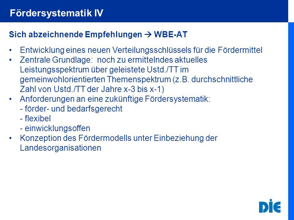 Fördersystematik IV Sich abzeichnende Empfehlungen WBE-AT Entwicklung eines neuen Verteilungsschlüssels für die Fördermittel Zentrale Grundlage: noch