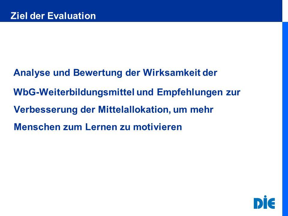 Ziel der Evaluation Analyse und Bewertung der Wirksamkeit der WbG-Weiterbildungsmittel und Empfehlungen zur Verbesserung der Mittelallokation, um mehr