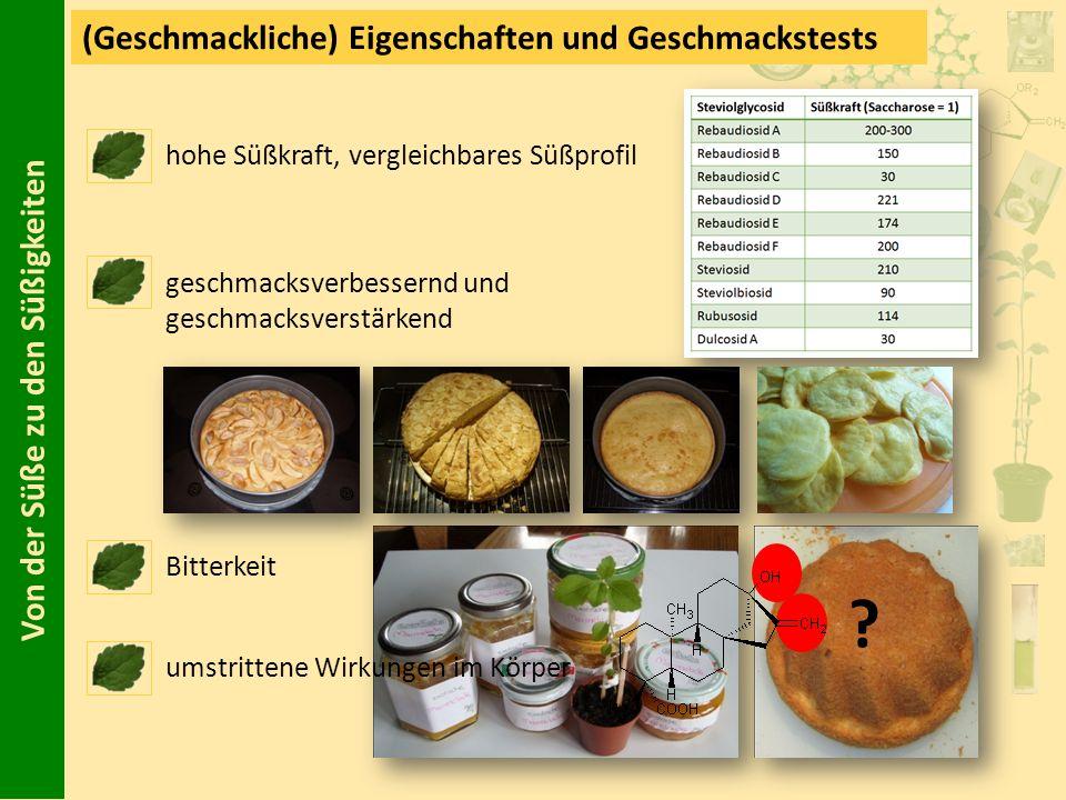 Von der Süße zu den Süßigkeiten (Geschmackliche) Eigenschaften und Geschmackstests hohe Süßkraft, vergleichbares Süßprofil geschmacksverbessernd und g