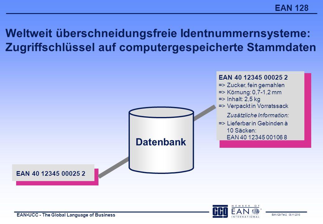 EAN128-Teil2 08.11.2013 EANUCC - The Global Language of Business EAN 128 Die EAN in der logistischen Gebindehierarchie NVE xyz EAN 1236 EAN 1234 2,5 kg ZUCKER 6 x EAN 1234 EAN 1235