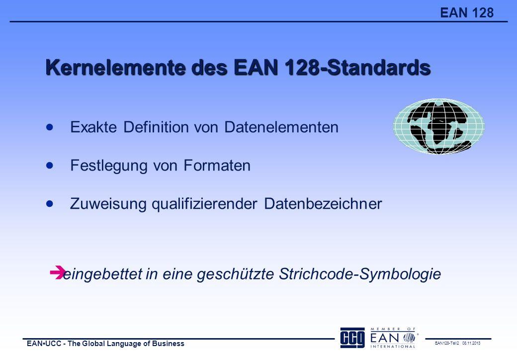 EAN128-Teil2 08.11.2013 EANUCC - The Global Language of Business EAN 128 Auszug aus der Liste bisher verabschiedeter Datenbezeichner (DB)