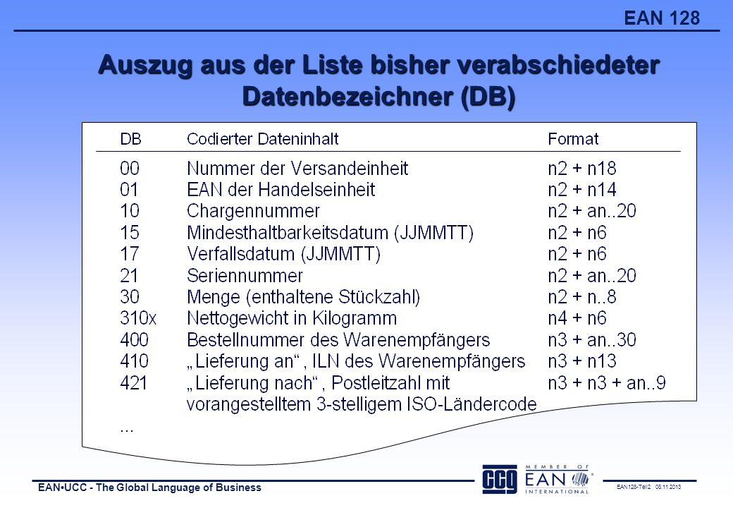 EAN128-Teil2 08.11.2013 EANUCC - The Global Language of Business EAN 128 (mind.) 50 mm 400 - 800 mm Paletten und andere Einheiten, die höher als 1 Meter sind Etikettenanbringung II 400 - 800 mm 400 - 800 mm