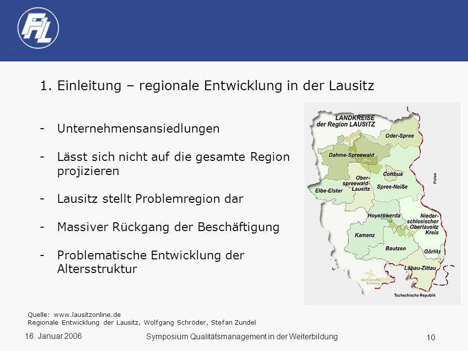 16. Januar 2006 10 Symposium Qualitätsmanagement in der Weiterbildung 1.Einleitung – regionale Entwicklung in der Lausitz -Unternehmensansiedlungen -L