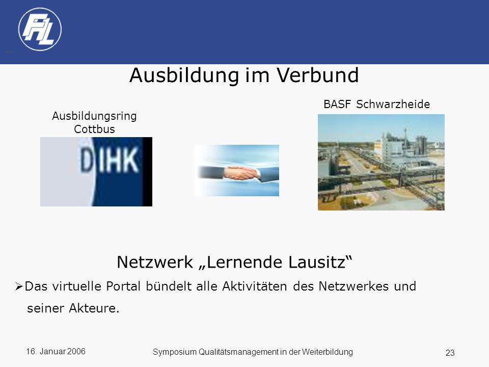 16. Januar 2006 23 Symposium Qualitätsmanagement in der Weiterbildung Ausbildung im Verbund Ausbildungsring Cottbus BASF Schwarzheide Netzwerk Lernend