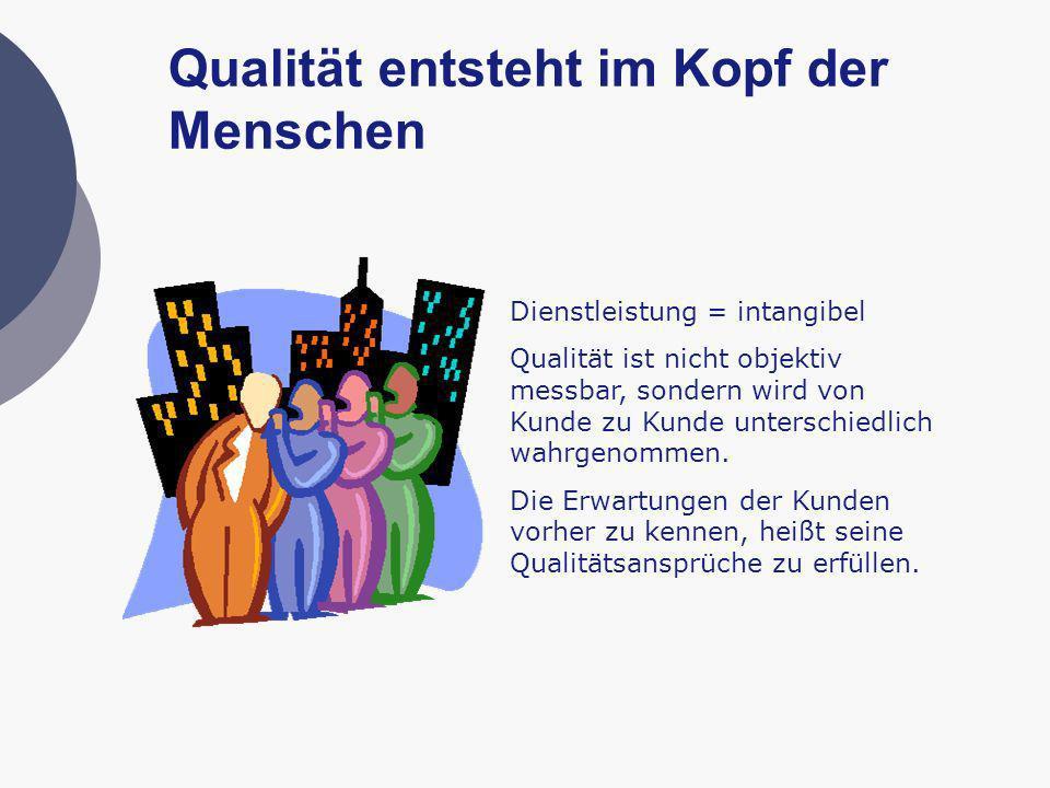 Qualität entsteht im Kopf der Menschen Dienstleistung = intangibel Qualität ist nicht objektiv messbar, sondern wird von Kunde zu Kunde unterschiedlic