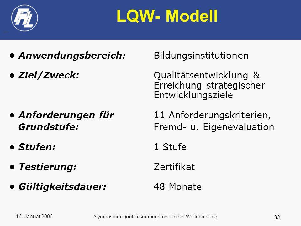 16. Januar 2006 33 Symposium Qualitätsmanagement in der Weiterbildung LQW- Modell Anwendungsbereich:Bildungsinstitutionen Ziel/Zweck:Qualitätsentwickl
