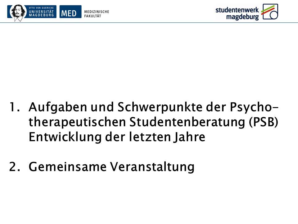 1.Aufgaben und Schwerpunkte der Psycho- therapeutischen Studentenberatung (PSB) Entwicklung der letzten Jahre 2.Gemeinsame Veranstaltung