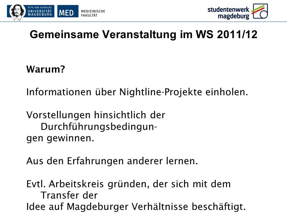 Gemeinsame Veranstaltung im WS 2011/12 Warum? Informationen über Nightline-Projekte einholen. Vorstellungen hinsichtlich der Durchführungsbedingun- ge