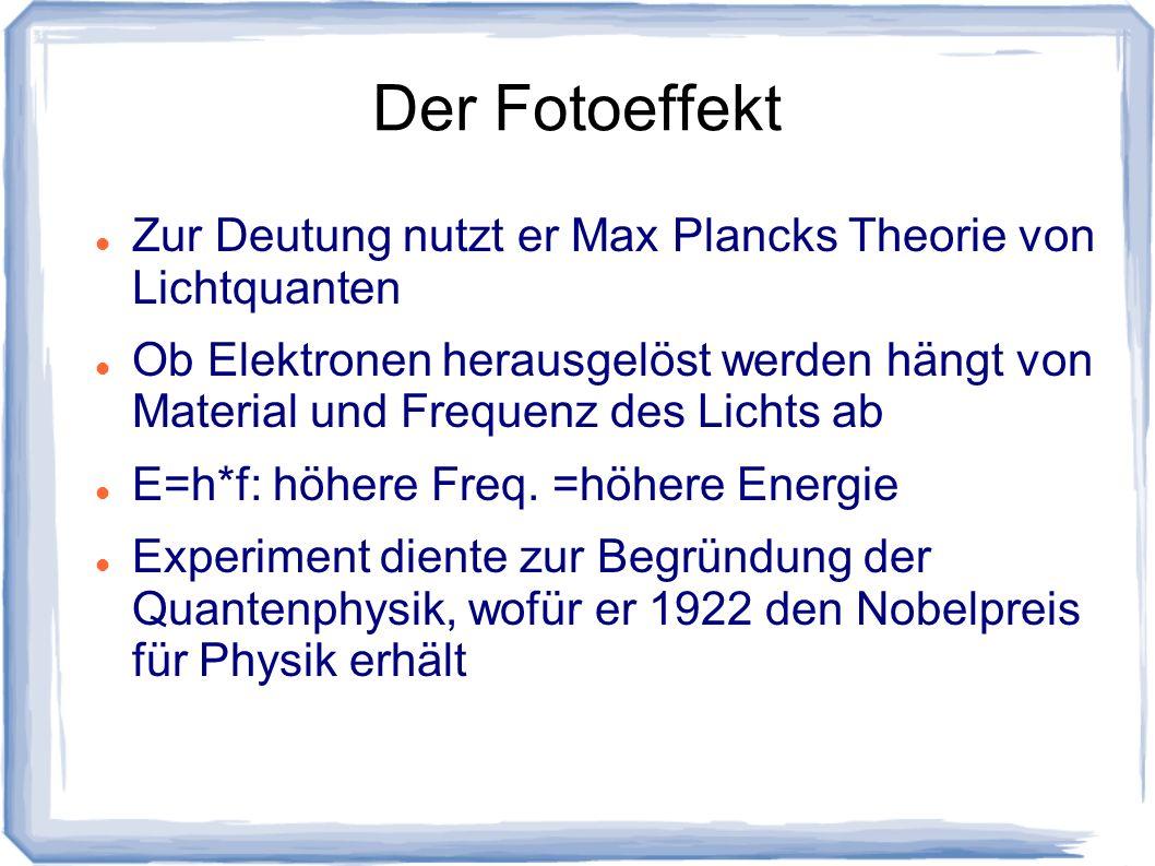 Der Fotoeffekt Zur Deutung nutzt er Max Plancks Theorie von Lichtquanten Ob Elektronen herausgelöst werden hängt von Material und Frequenz des Lichts
