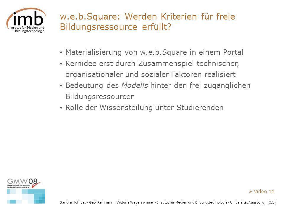 Sandra Hofhues · Gabi Reinmann · Viktoria Wagensommer · Institut für Medien und Bildungstechnologie · Universität Augsburg(11) w.e.b.Square: Werden Kr
