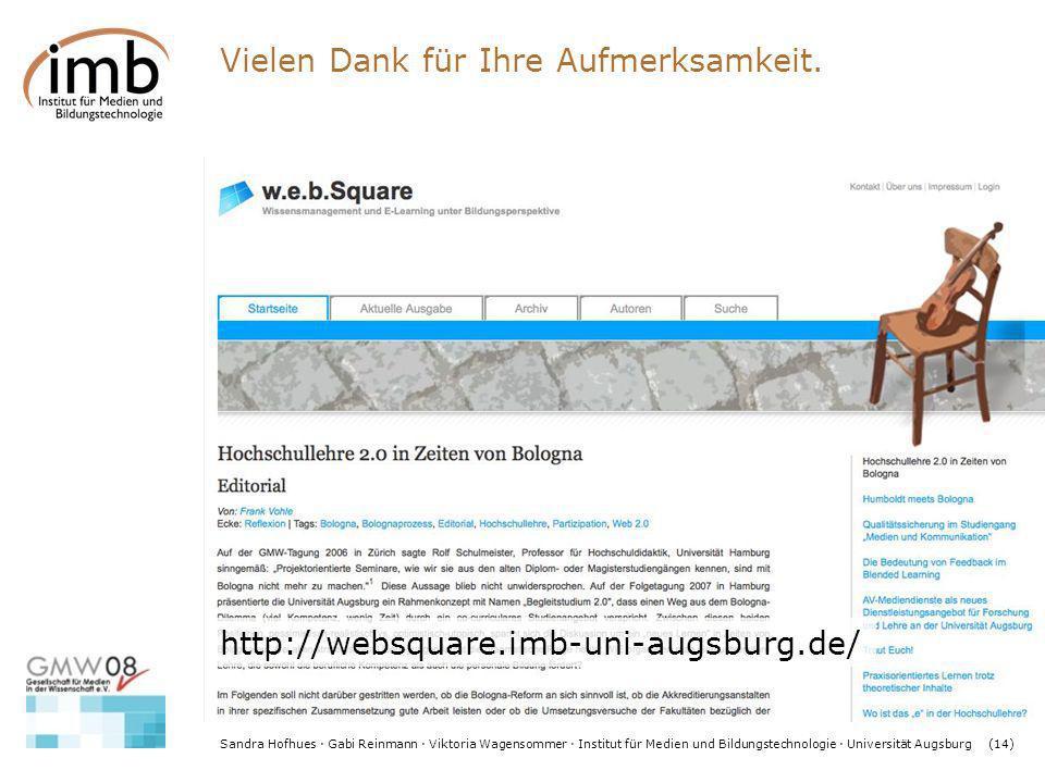 Sandra Hofhues · Gabi Reinmann · Viktoria Wagensommer · Institut für Medien und Bildungstechnologie · Universität Augsburg(14) http://websquare.imb-un
