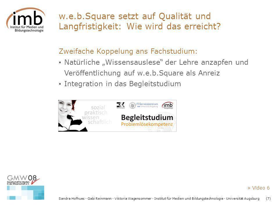 Sandra Hofhues · Gabi Reinmann · Viktoria Wagensommer · Institut für Medien und Bildungstechnologie · Universität Augsburg(7) w.e.b.Square setzt auf Q