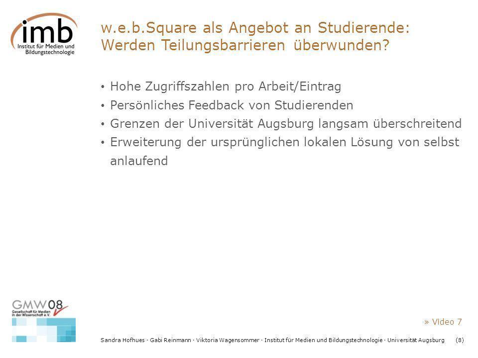Sandra Hofhues · Gabi Reinmann · Viktoria Wagensommer · Institut für Medien und Bildungstechnologie · Universität Augsburg(8) w.e.b.Square als Angebot