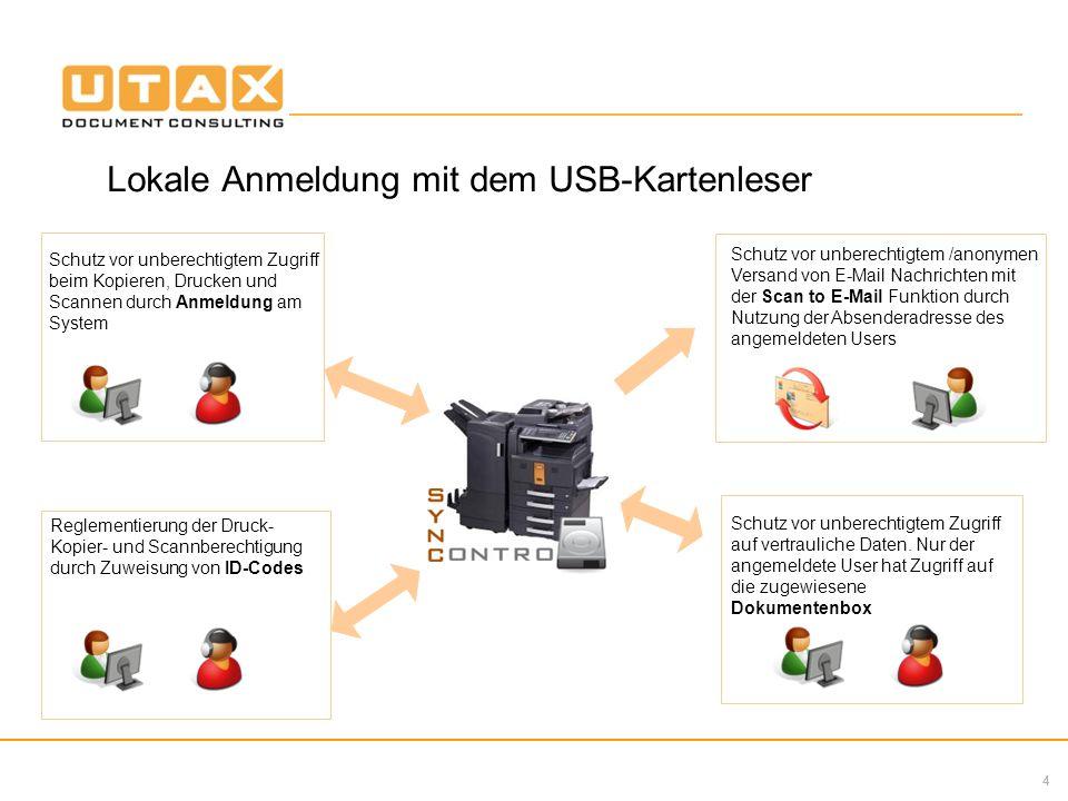 4 Lokale Anmeldung mit dem USB-Kartenleser Schutz vor unberechtigtem Zugriff beim Kopieren, Drucken und Scannen durch Anmeldung am System Schutz vor u