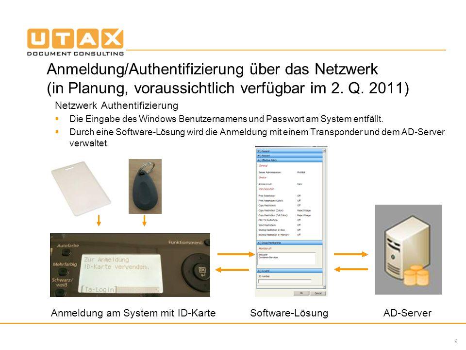 9 Anmeldung/Authentifizierung über das Netzwerk (in Planung, voraussichtlich verfügbar im 2. Q. 2011) Netzwerk Authentifizierung Die Eingabe des Windo