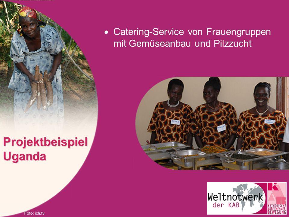 Catering-Service von Frauengruppen mit Gemüseanbau und Pilzzucht Projektbeispiel Uganda Foto: ich.tv
