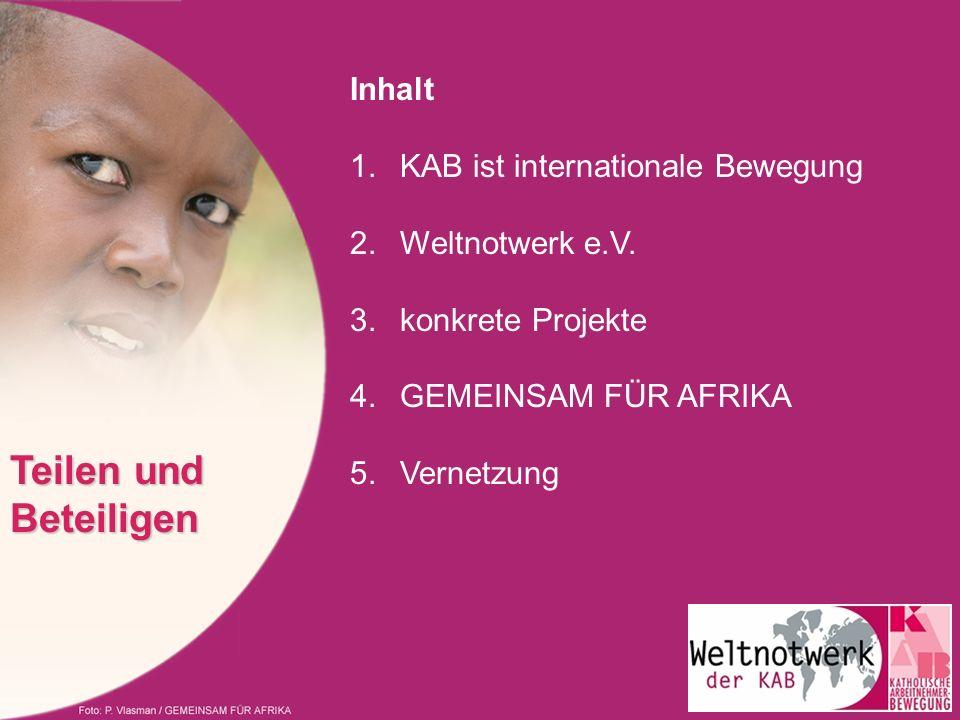 Inhalt 1.KAB ist internationale Bewegung 2.Weltnotwerk e.V. 3.konkrete Projekte 4.GEMEINSAM FÜR AFRIKA 5.Vernetzung Teilen und Beteiligen